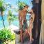 PRE ชุดว่ายน้ำคู่รัก หญิงวันพีซโมโนกินี่พิมพ์ลายสวย ชายกางเกงขาสั้นลายเดียวกัน thumbnail 7