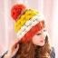 หมวกไหมพรมแฟชั่นเกาหลีพร้อมส่ง ทรงดีไซต์เก๋ แต่งจุกสีแดง หมวกลายขนมชั้นสีแดงขาวเหลืองน้ำตาล thumbnail 2