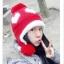 หมวกไหมพรมแฟชั่นเกาหลีพร้อมส่ง ทรงดีไซต์เก๋ หมวกสีแดง ทรงปิดหู ลายหัวใจสีขาว มีจุก thumbnail 1