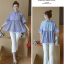 K114222 เสื้อคลุมท้องแฟชั่นเกาหลี โทนสีฟ้าสลับขาว thumbnail 7