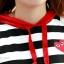 ชุดนอนคลุมท้องลายตามขวาง แบบมีฮู้ด : สีดำ-แดง รหัส PK010 thumbnail 6