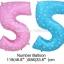 """ลูกโป่งฟอยล์รูปตัวเลข 5 สีฟ้าพิมพ์ลายดาว ไซส์จัมโบ้ 40 นิ้ว - Number 5 Shape Foil Balloon Size 40"""" Blue Color printing Star thumbnail 3"""