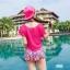 PRE ชุดว่ายน้ำเอวสูงเซ็ต 3 ชิ้น ลายสวยสีสันสดใส บรา กางเกงแต่งระบาย พร้อมเสื้อคลุม thumbnail 6