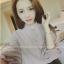 เสื้อทำงานแฟชั่นเกาหลี แต่งคอจีนแบบผูก แขนตุ๊กตา 3 ส่วน สีเบจอมเทา thumbnail 4