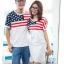 ชุดคู่ เสื้อคู่รัก ชายเสื้อยืด + หญิงเดรสจั้มเอว สีขาว แต่งลายธงชาติอเมริกา +พร้อมส่ง+ thumbnail 6
