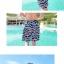 PRE ชุดว่ายน้ำคู่รัก ชุดว่ายน้ำบิกินี่ สายคล้องคอ ลายโซ่ขาว พื้นกรมท่าสวยๆ thumbnail 4