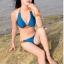 พร้อมส่ง ชุดว่ายน้ำบิกินี่ทูพีซ สีน้ำเงินกรมท่า แต่งลายเก๋สีส้มสดใส thumbnail 4
