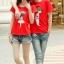 เสื้อยืดคู่รัก แฟชั่นคู่รัก ชาย + หญิง เสื้อยืดแขนสั้น เสื้อสีแดง สกรีนลายทหารชายทหารหญิง +พร้อมส่ง+ thumbnail 3