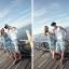 PRE ชุดเดินหาดคู่รัก เดรส แต่งอกระบาย สายคล้องคอหรือผูกโบว์เป็นเกาะอก จั๊มเอว +กางเกงขาสั้นชาย หลายโบฮีเมียนสีสวย thumbnail 5