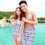 PRE ชุดว่ายน้ำคู่รัก ชุดว่ายน้ำ Tankini สายสปาเก็ตตี้ ลายสก๊อตน่ารักสดใส กางเกงกระโปรง thumbnail 1