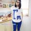 เสื้อพร้อมกางเกงคลุมท้อง สกีนลายไอแอม : สีขาว รหัส SH036 thumbnail 1