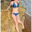 พร้อมส่ง ชุดว่ายน้ำบิกินี่ทูพีซ สีน้ำเงินกรมท่า แต่งลายเก๋สีส้มสดใส thumbnail 5
