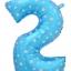 """ลูกโป่งฟอยล์รูปตัวเลข 2 สีฟ้าพิมพ์ลายดาว ไซส์จัมโบ้ 40 นิ้ว - Number 2 Shape Foil Balloon Size 40"""" Blue Color printing Star thumbnail 1"""