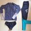พร้อมส่ง ชุดว่ายน้ำแขนยาวขายาว เสื้อสีน้ำเงินลายจุดขาว กางเกงขายาวน้ำเงินกรมท่า thumbnail 6