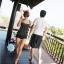 พร้อมส่ง ชุดว่ายน้ำ Tankini สีดำแต้มลายจุดขาว เซ็ต 2 ชิ้น เสื้อสายเดี่ยวแต่งระบายชั้นๆ สวย กางเกงขาสั้น thumbnail 9