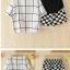 เสื้อพร้อมกางเกงคลุมท้อง ลายตาราง : สีขาว-ดำ รหัส SH221 thumbnail 5