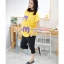 เสื้อพร้อมกางเกงคลุมท้อง สกีนลายไอแอม : สีเหลือง รหัส SH037 thumbnail 2