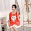 เสื้อคลุมท้องแขนสั้น ลายแมวยิ้มติดโบว์ White Cat : สีส้ม รหัส SH190 thumbnail 4