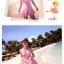 พร้อมส่ง ชุดว่ายน้ำวันพีซกระโปรงระบาย สีชมพูสดใส อกแต่งโบว์ ด้านหลังเว้าลึก สายผูกไขว้เซ็กซี่ thumbnail 4