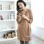 เสื้อเชิ้ตคลุมท้องแขนยาว มีฮู้ด : สีน้ำตาลอ่อน รหัส SH055 thumbnail 1
