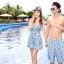 PRE ชุดว่ายน้ำคู่รัก หญิงเซ็ต 3 ชิ้น โทนฟ้า บรา กางเกงแต่งระบาย พร้อมชุดคลุมสวย thumbnail 2