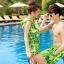 PRE ชุดว่ายน้ำคู่รัก บิกินี่ ลายสวย พร้อมชุดคลุมเอี๊ยม มีฮู้ด thumbnail 4