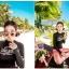 ชุดว่ายน้ำแขนยาวสีดำสกรีนลาย บิกินี่สีชมพู thumbnail 3