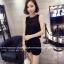 จั๊มสูทแฟชั่นเกาหลี แต่งคอเสื้อตามภาพ ช่วงตัวเสื้อและกางเกงทรงปล่อย สีดำ thumbnail 5