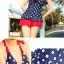 พร้อมส่ง ชุดว่ายน้ำ Tankini เซ็ต 3 ชิ้น เสื้อสีน้ำเงินแต้มจุดขาว กระโปรงระบายสีแดงสวย (เสื้อTankini +บิกินี่+กระโปรง) thumbnail 5