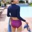 ชุดว่ายน้ำแขนยาว เสื้อสีน้ำเงิน กางเกงเอวสูงชมพูลายสวย thumbnail 3