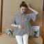 K114221 เสื้อคลุมท้องแฟชั่นเกาหลี โทนสีดำสลับ thumbnail 3