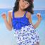 พร้อมส่ง ชุดว่ายน้ำเด็กหญิง tankini เสื้อยาว ลายเชอรี่หวานน่ารัก แต่งโบว์ใหญ่ที่อก กางเกงขาสั้น thumbnail 3