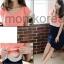 MK428 ชุดเดรสเปิดให้นมแฟชั่นเกาหลี โทนสีชมพูท่อนบน ท่อนล่างเป็นกระโปรงกรม thumbnail 1
