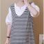 เดรสคลุมท้องแฟชั่นเกาหลี โทนสีขาวสลับดำ thumbnail 3