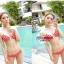 พร้อมส่ง ชุดว่ายน้ำ Bikini ผูกข้าง สีแดงแต้มลายจุดขาวน่ารัก สายคล้องคอ thumbnail 5