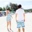 พร้อมส่ง ชุดว่ายน้ำคู่รัก ชุดว่ายน้ำบิกินี่ทูพีซ ลายกราฟฟิกโทนสีฟ้าเขียว พร้อมชุดเอี๊ยมกางเกงขาสั้นเนื้อเดียวกับชุดว่ายน้ำ thumbnail 7