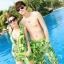 PRE ชุดว่ายน้ำคู่รัก บิกินี่ ลายสวย พร้อมชุดคลุมเอี๊ยม มีฮู้ด thumbnail 2