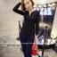เสื้อแฟชั่นเกาหลี แขนยาว ตกแต่งคอเสื้อเก๋ ๆ ตามรูป ทรงเข้ารูป สีดำสุภาพ thumbnail 4