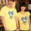 เสื้อยืดคู่รัก แฟชั่นคู่รั กชาย + หญิง เสื้อยืดแขนสั้น เสื้อสีเหลือง สกรีนลายหัวใจสีฟ้า +พร้อมส่ง+ thumbnail 5