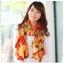 ผ้าพันคอแฟชั่นสไตส์เกาหลี ลายหลากสีโทนสีส้มแดง ผ้าชีฟอง ผ้านุ่ม ดีไซต์เก๋ไก๋ ใส่แล้วดูดีมีสไตส์ thumbnail 1
