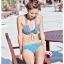 PRE ชุดว่ายน้ำบิกีนี่เซ็ต 3 ชิ้น ลายสีฟ้า สายคล้องคอ ผูกโบว์เล็กๆ ที่อก พร้อมผ้าคลุมลายสวย thumbnail 4