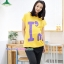 เสื้อพร้อมกางเกงคลุมท้อง สกีนลายไอแอม : สีเหลือง รหัส SH037 thumbnail 1