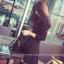 เดรสแฟชั่นเกาหลี แขนยาว ทรงเดรสเข้ารูป ช่วงกระโปรงทรงปล่อย สีดำสุภาพ thumbnail 2