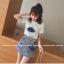 ชุดแฟชั่นเกาหลี เสื้อ + กระโปรง เย็บแต่งลายด้านหน้าตามรูปน่ารัก ๆ thumbnail 1