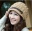 หมวกไหมพรมแฟชั่นเกาหลีพร้อมส่ง ทรงดีไซต์เก๋ แต่งเปียคาดด้านหน้า สีน้ำตาล thumbnail 1