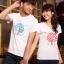 เสื้อยืดคู่รัก แฟชั่นคู่รัก ชาย + หญิง เสื้อยืดแขนสั้น เสื้อสีขาว สกรีนลายต้นไม้บอกรัก Love +พร้อมส่ง+ thumbnail 5