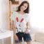 เสื้อคลุมท้อง ลายกระต่ายหน้ายิ้มหูแดง : สีขาว รหัส SH153 thumbnail 1