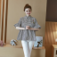K114221 เสื้อคลุมท้องแฟชั่นเกาหลี โทนสีดำสลับ thumbnail 2