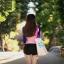 ชุดว่ายน้ำแขนยาวสีชมพู-น้ำเงิน กางเกงขาสั้นสีดำ thumbnail 3