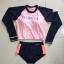 ชุดว่ายน้ำแขนยาว เสื้อเอวลอยสีชมพู กางเกงกรมท่าแถบข้างสีส้ม thumbnail 11